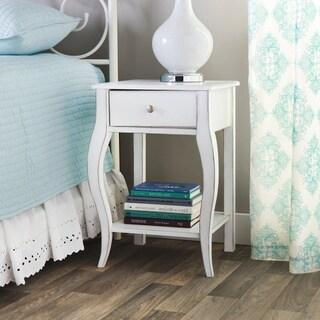 Alexandra Brush White 1-drawer Nightstand