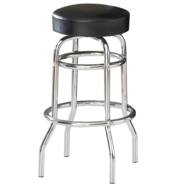 Shop Bernards Black Vinyl Chrome Swivel Bar Stool Free