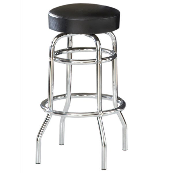 Bernards Black VinylChrome Swivel Bar Stool