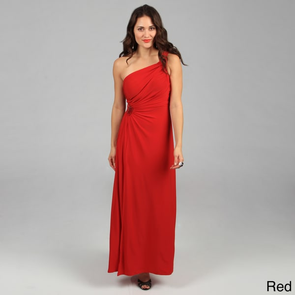 Tabeez Women's Ruched Beaded Jersey Gown