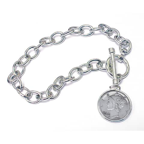 American Coin Treasures Sterling Silver 'Year To Remember' Dime Coin Toggle Bracelet