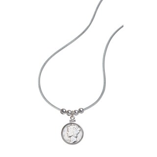 American Coin Treasures Sterling Silver 'Year To Remember' Dime Coin and Bead Necklace
