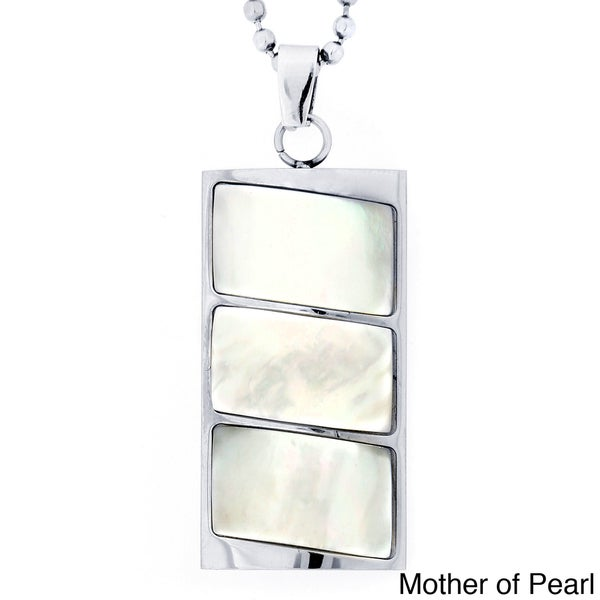 Stainless Steel Abalone or Mother of Pearl Inlay Segmented Necklace