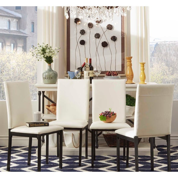 Darcy Metal Upholstered Dining Chair (Set Of 4) By INSPIRE Q Bold   Free  Shipping Today   Overstock.com   15123254