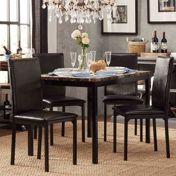 Darcy faux marble top black metal 5 piece casual dining for Fake kitchen set