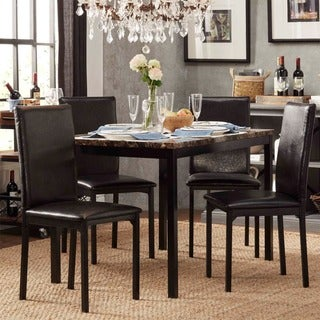 Darcy Faux Marble Top Black Metal 5-piece Casual Dining Set by INSPIRE Q