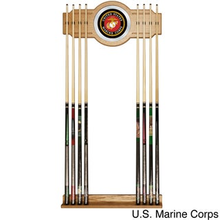 United States Military Wood and Mirror Wall Cue Rack (Option: US Marine Corps Billiard Cue Rack w/Mirror)