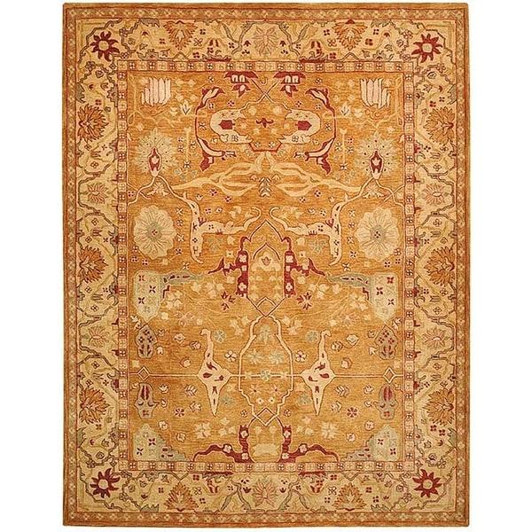 Safavieh Handmade Anatolia Oriental Straw Beige/ Ivory Hand-spun Wool Rug (9' x 12')