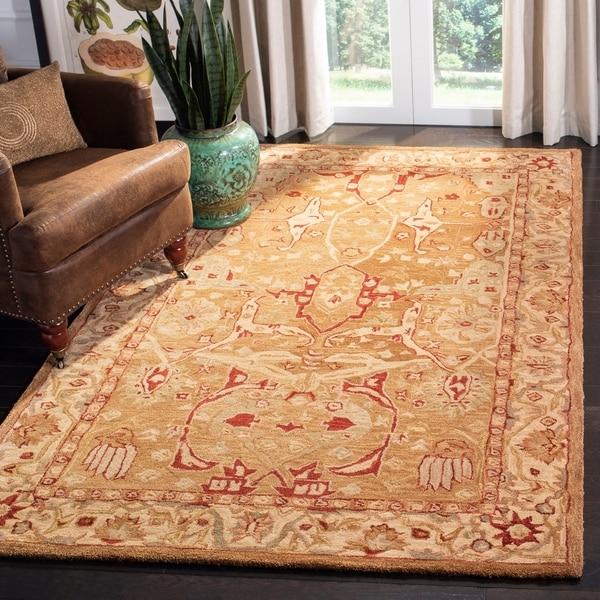 Safavieh Handmade Anatolia Oriental Straw Beige/ Ivory Hand-spun Wool Rug - 9' x 12'