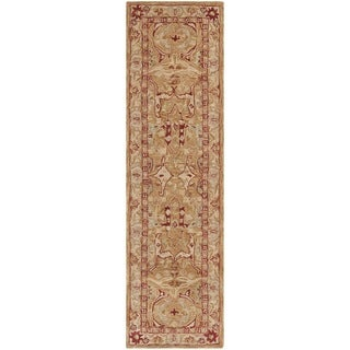 Safavieh Handmade Anatolia Oriental Straw Beige/ Ivory Hand-spun Wool Rug (2'3 x 10')