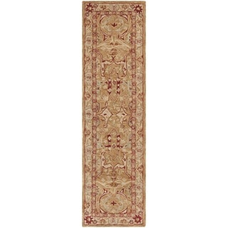 Safavieh Hand-made Anatolia Straw Beige/ Ivory Hand-spun Wool Rug (2'3 x 8')