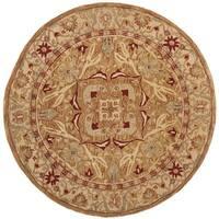 Safavieh Handmade Anatolia Oriental Straw Beige/ Ivory Hand-spun Wool Rug - 6' Round