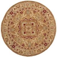 Safavieh Handmade Anatolia Oriental Straw Beige/ Ivory Hand-spun Wool Rug - 8' Round