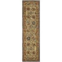 Safavieh Handmade Anatolia Oriental Green/ Gold Hand-spun Wool Rug - 2'3 x 10'