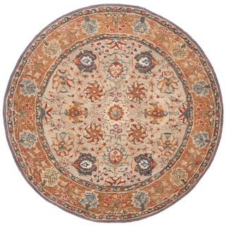 Safavieh Hand-made Anatolia Green/ Gold Hand-spun Wool Rug (4' Round)