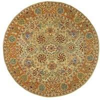 Safavieh Handmade Anatolia Oriental Green/ Gold Hand-spun Wool Rug - 8' Round