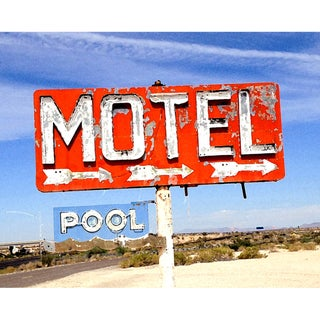Art in Style Vintage Motel with Pool Sign Giclee Canvas Wall Artt
