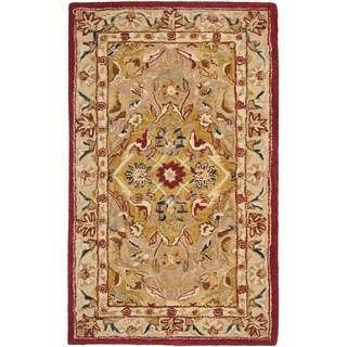 Safavieh Handmade Anatolia Oriental Traditional Gold/ Ivory Hand-spun Wool Rug (3' x 5')