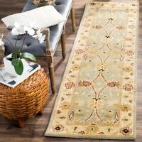 "Safavieh Handmade Kerman Light Blue/ Ivory Gold Wool Rug - 2'3"" x 12'"