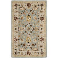 "Safavieh Handmade Kerman Light Blue/ Ivory Gold Wool Rug - 2'3"" x 4'"