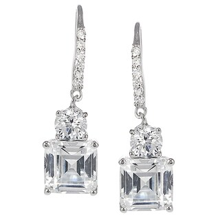 Journee Sterling Silver Cubic Zirconia Square Drop Earrings