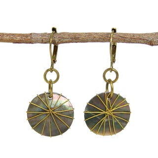 Handcrafted Wire-wrapped Round Shell Earrings (India)