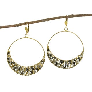 Handmade Ombre Cubist Hoop Earrings (India)