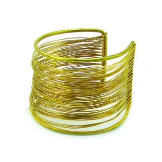 Handmade Dozens of Strands Brass Wire Cuff (India)