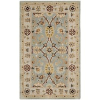 Safavieh Handmade Kerman Light Blue/ Ivory Gold Wool Rug - 3' x 5'