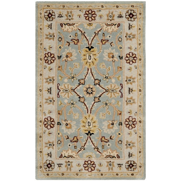 "Safavieh Handmade Kerman Black/ Ivory Gold Wool Rug - 8'3"" x 11'"