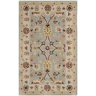 Safavieh Handmade Kerman Black/ Ivory Gold Wool Rug (8'3 x 11')