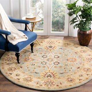 Safavieh Handmade Kerman Light Blue/ Ivory Gold Wool Rug (8' Round)