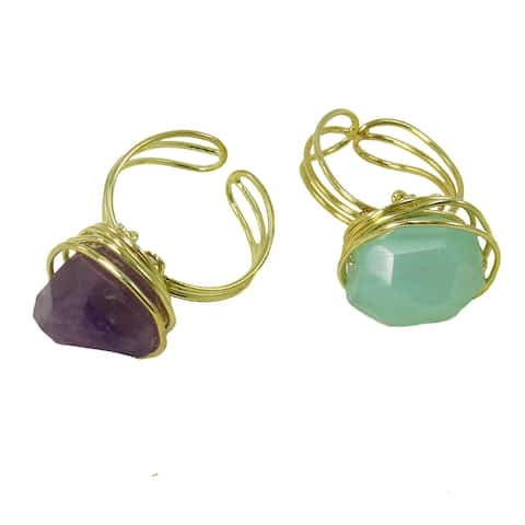 Handmade Agate Chunk Brass Statement Ring (India)