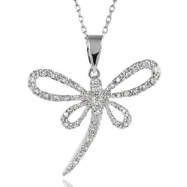 Journee Collection Sterling Silver Cubic Zirconia Dragonfly Necklace