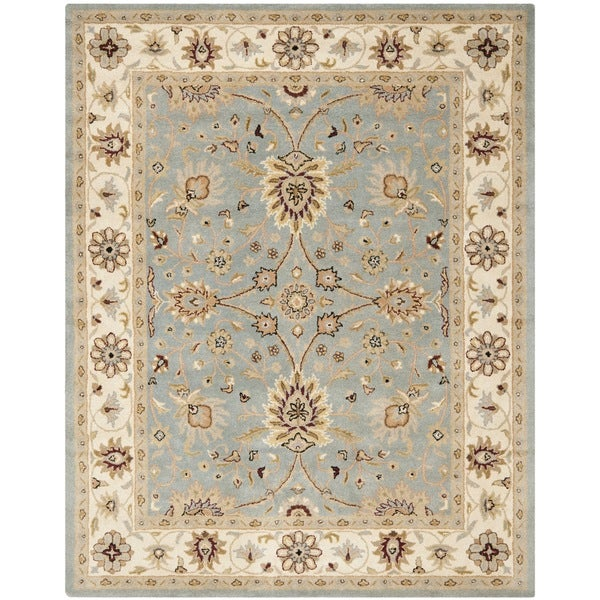 Safavieh Handmade Kerman Light Blue/ Ivory Gold Wool Rug (7'6 x 9'6)