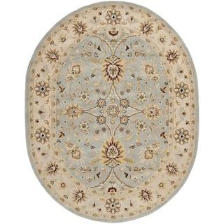 Safavieh Handmade Kerman Light Blue/ Ivory Gold Wool Rug (4'6 x 6'6 Oval)