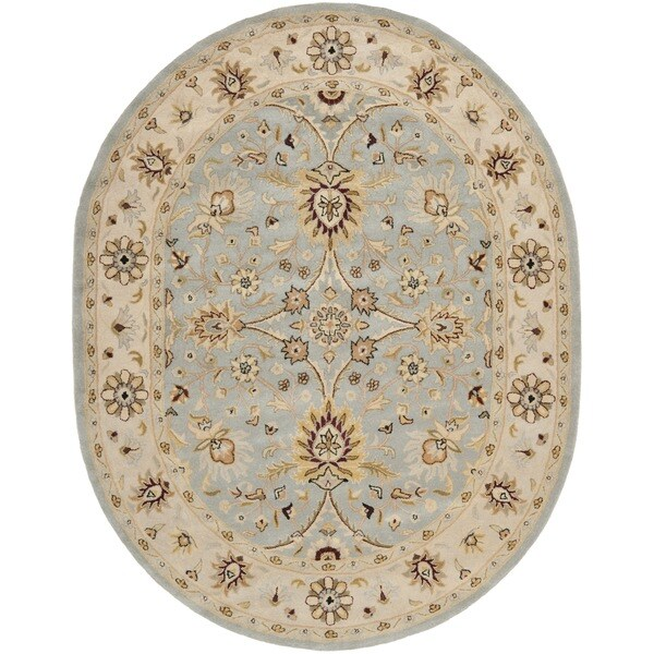 Shop Safavieh Handmade Kerman Light Blue/ Ivory Gold Wool