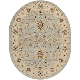 Safavieh Handmade Kerman Light Blue/ Ivory Gold Wool Rug (7'6 x 9'6 Oval)