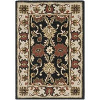 "Safavieh Handmade Kerman Black/ Ivory Gold Wool Rug - 2'3"" x 4'"