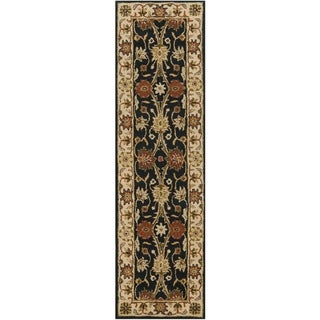 Safavieh Handmade Kerman Black/ Ivory Gold Wool Rug (2'3 x 10')