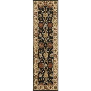 Safavieh Handmade Kerman Black/ Ivory Gold Wool Rug (2'3 x 10')