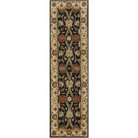Safavieh Handmade Kerman Black/ Ivory Gold Wool Rug - 2'3 x 10'