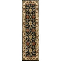 Safavieh Handmade Kerman Black/ Ivory Gold Wool Rug - 2'3 x 12'