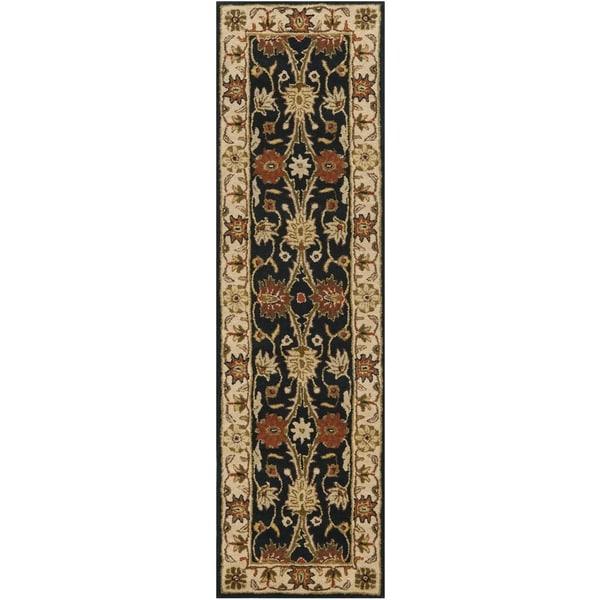 Safavieh Handmade Kerman Black/ Ivory Gold Wool Rug - 2'3 x 12'