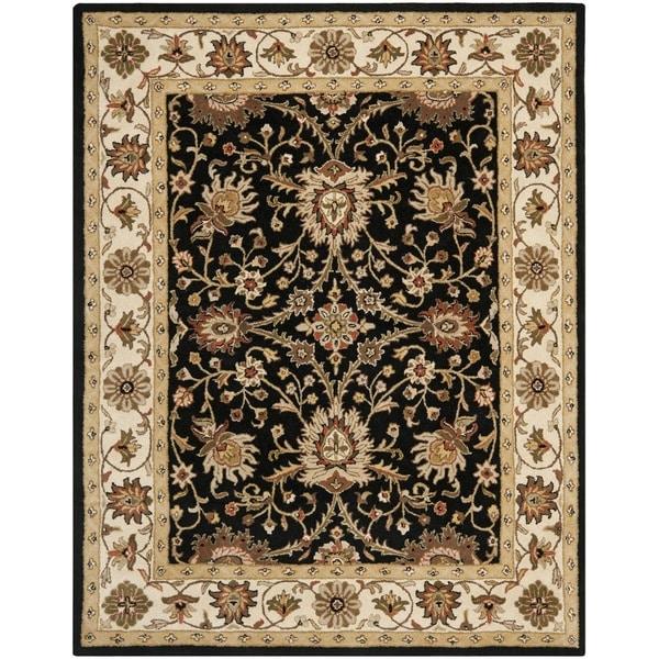 Safavieh Handmade Kerman Black/ Ivory Gold Wool Rug (9'6 x 13'6)