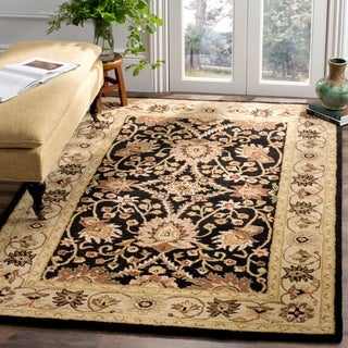 Safavieh Handmade Kerman Black/ Ivory Gold Wool Rug (5' x 8')