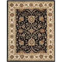 Safavieh Handmade Kerman Black/ Ivory Gold Wool Rug (6' x 9')