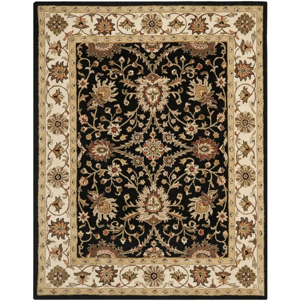 Safavieh Handmade Kerman Black/ Ivory Gold Wool Rug - 7'6 x 9'6