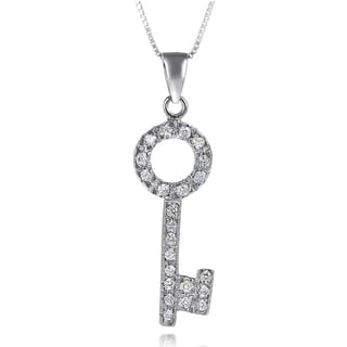 Journee Collection Sterling Silver Cubic Zirconia Key Necklace