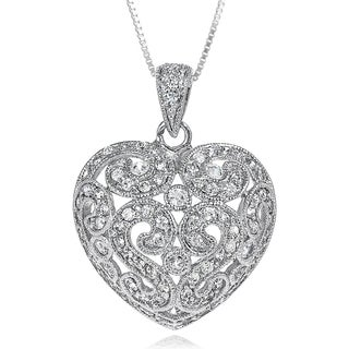 Journee Collection Sterling Silver Cubic Zirconia Heart Necklace
